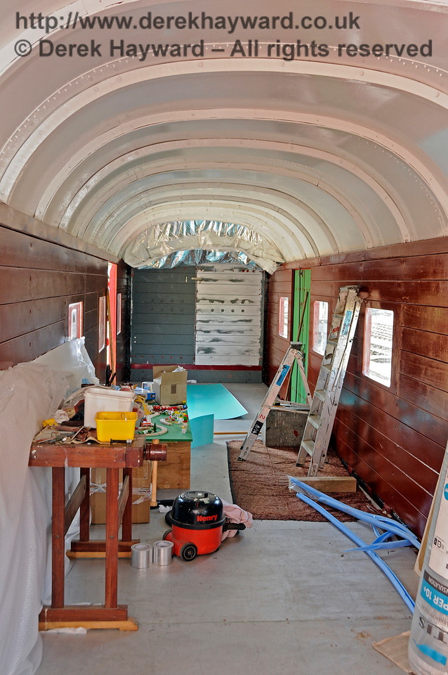 The interior of the Elephant Van at Horsted Keynes.  The roof is metal and the van becomes very hot in the sun.  At the end of the coach material is being tested to establish if it will successfully exclude excess heat.  26.08.2016  16283