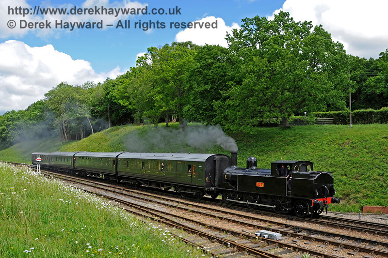 The Coal Tank hauls a service train south into Horsted Keynes. 20.05.2017 17264  More pictures of the tank are in the Branch Line Weekend gallery.