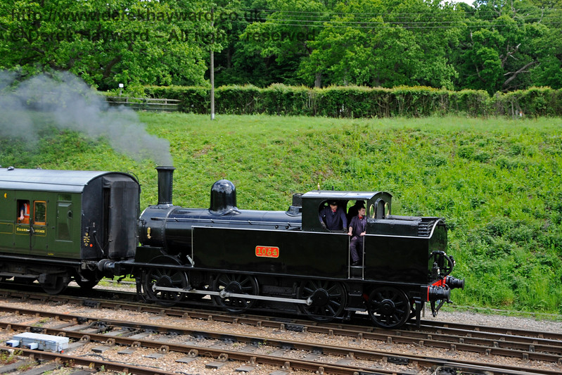 The Coal Tank hauls a service train south into Horsted Keynes. 20.05.2017 17266  More pictures of the tank are in the Branch Line Weekend gallery.