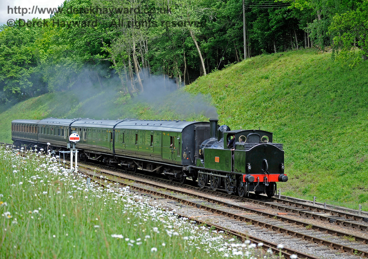 The Coal Tank hauls a service train south into Horsted Keynes. 20.05.2017 15351  More pictures of the tank are in the Branch Line Weekend gallery.