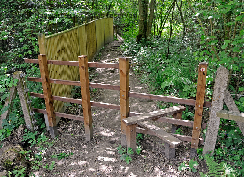 A new stile installed by the Friends of Kingscote  on the west side of the line at Birch Farm Crossing.  Note the dog friendly gap next to the stile. 110617 17352