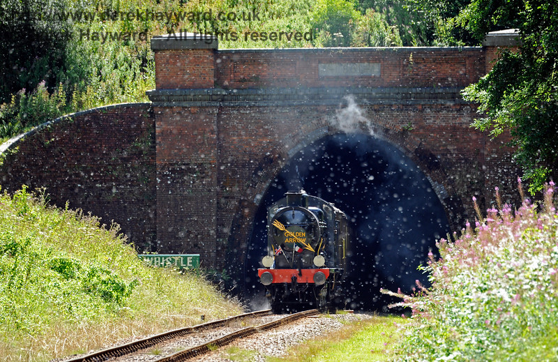 30541 emerges from West Hoathly Tunnel whilst thousands of seeds are released from weeds on the sides of the cutting, creating an effect like a snowstorm.  I have never seen this effect before in 20 years of photographing the railway. In real life it was more intense than the camera can show. 06.08.2017 15858