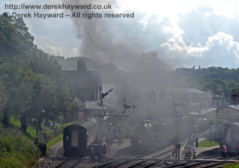 Some you win, some you lose...  The Russian coal causes a fog as 73082 arrives at Horsted Keynes. 19.08.2017 15929