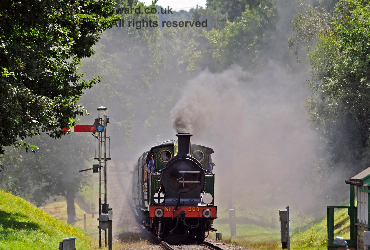 263 creates a smokescreen as it runs towards Kingscote.  06.08.2017 15848