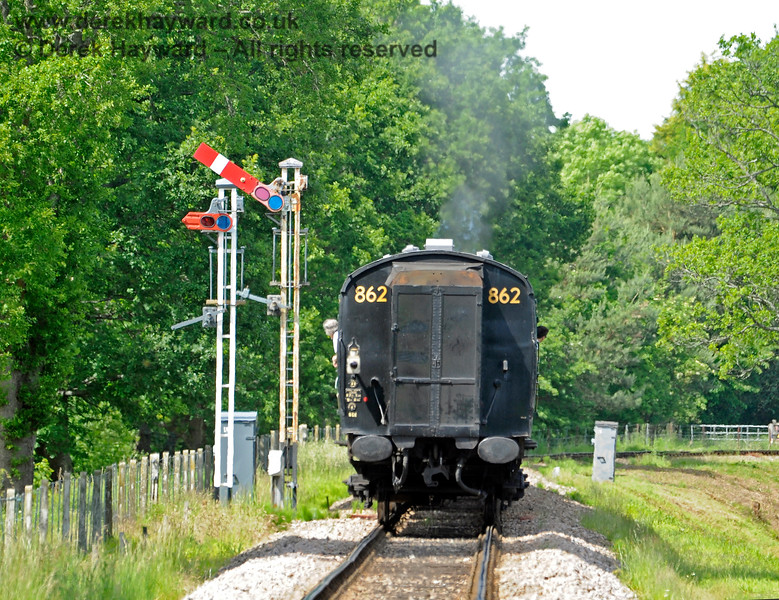 The Horsted Keynes second Advance Starting signal is being re-positioned to allow the track to be slewed, and the new post is seen to the left of the old signal, awaiting it's entry into service.  01.06.2019 16996
