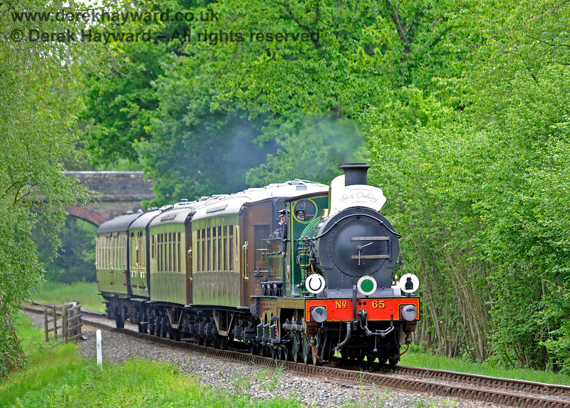 65 steaming north from Mill Place Bridge with a Wedding Special. 25.05.2019 16871