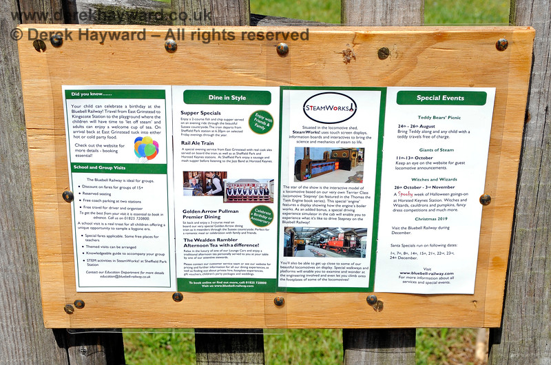 Small timetable boards on the foot crossing at West Hoathly. 01.06.2019 19213
