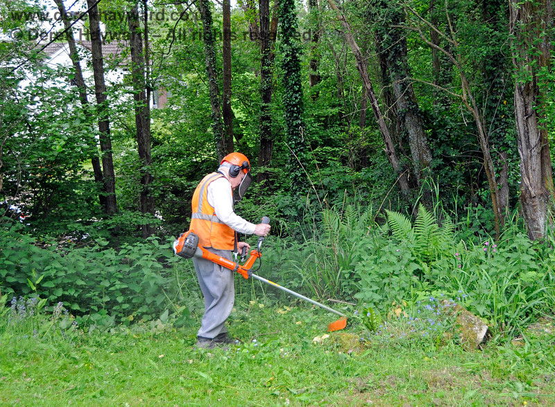 "Eddie from the ""Friends of Kingscote"" keeping the nettles away from the station garden. 25.05.2019 19154"