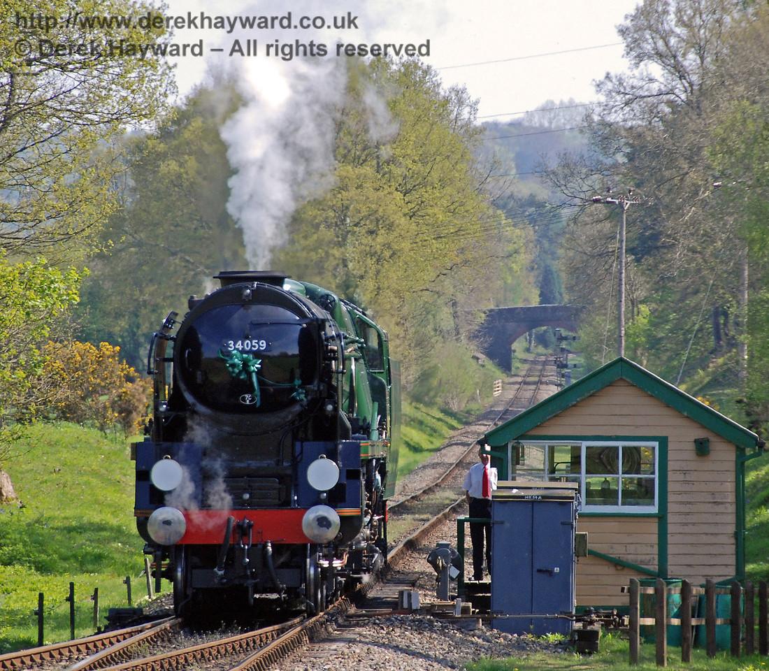 34059 Sir Archibald Sinclair alongside Kingscote signal box. 24.04.2009  0233