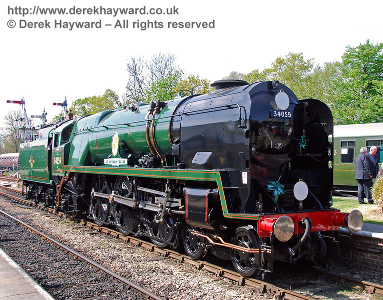 34059 Sir Archibald Sinclair at Horsted Keynes after the naming ceremony. 24.04.2009  0140