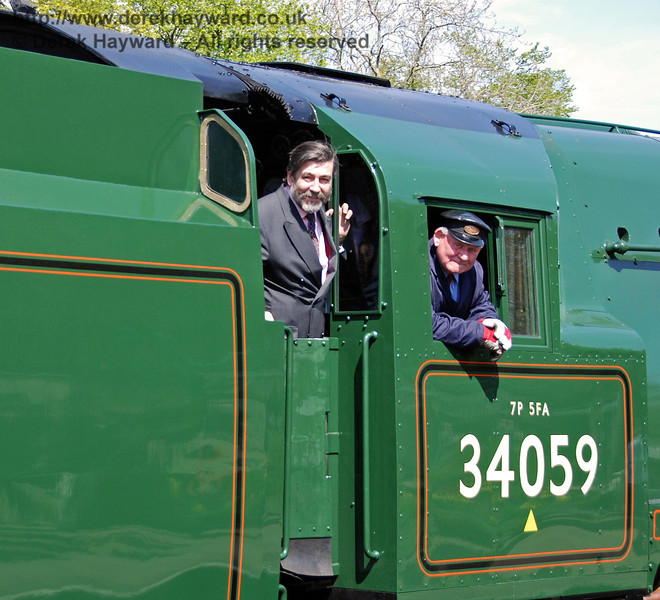 Viscount Thurso inspects 34059 Sir Archibald Sinclair at Horsted Keynes. 24.04.2009  0153