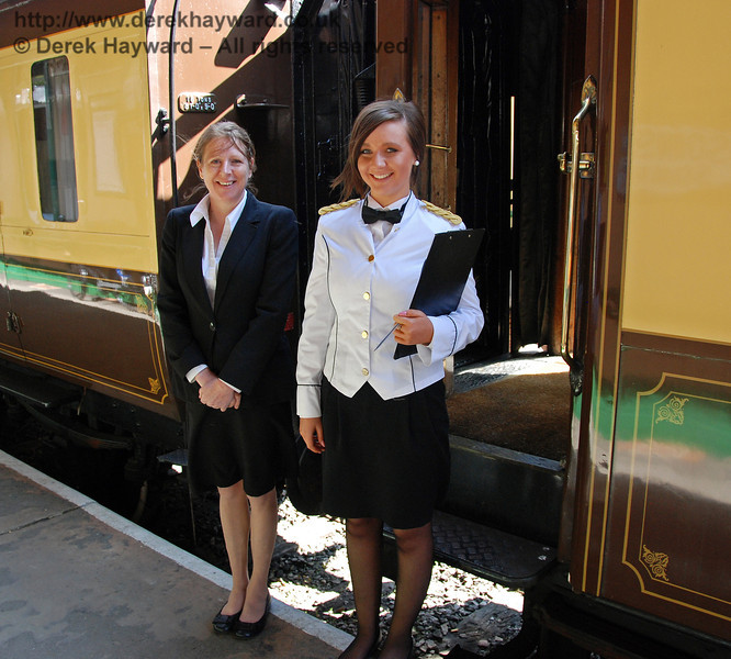 The Bluebell has charming staff to look after the guests on the Pullman. Horsted Keynes 24.04.2009  0138