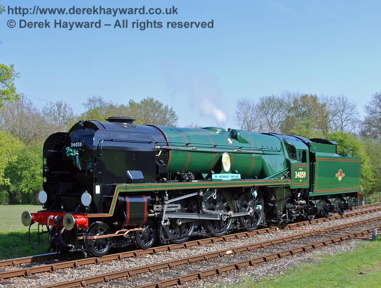 34059 Sir Archibald Sinclair poses at Kingscote. 24.04.2009  0229