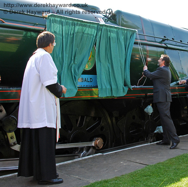 Watched by Father John Twisleton (Rector of St Giles Church, Horsted Keynes and Chaplain to the BRPS), Viscount Thurso unveils the name plate and crest on 34059 Sir Archibald Sinclair. 24.04.2009  0050