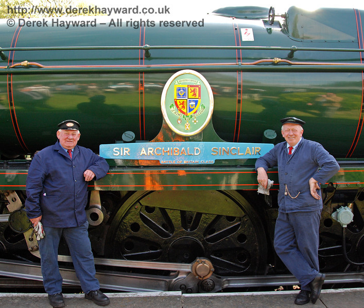 The crew of 34059 Sir Archibald Sinclair at the naming ceremony. Horsted Keynes 24.04.2009  0134