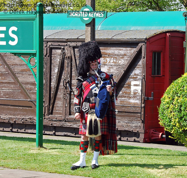 A piper played at the naming ceremony. Horsted Keynes 24.04.2009  0148