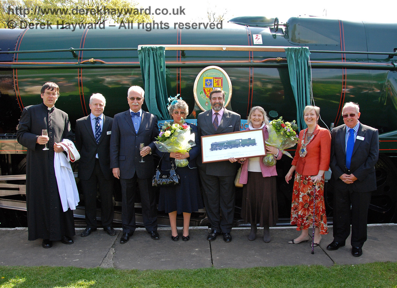 Distinguished guests pose after the naming ceremony. Father John Twisleton (Rector of St Giles Church, Horsted Keynes and Chaplain to the BRPS), Roy Watts (Chairman BRPS), Graham Flight (Chairman and Secretary, Bluebell Railway plc), Sally Cruse, Viscount Thurso, Viscountess Thurso, Councillor Ginnie Waddingham (Mayor of East Grinstead) and Roger Cruse (Chairman of the Bluebell Railway Battle of Britain Locomotive Group). Horsted Keynes 24.04.2009  0118