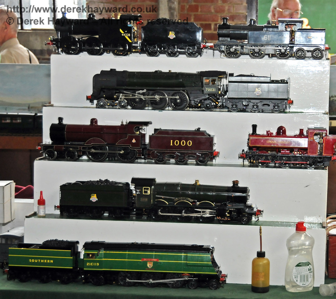 Some of the model railway engines on display in Sheffield Park Shed. 07.08.2010  3756