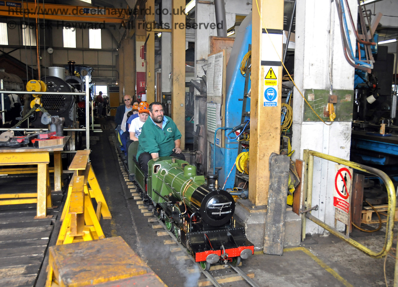 I never imagined that I would see the day when members of the public would be wizzing through Sheffield Park Workshops on a miniature train....! 07.08.2010  3764