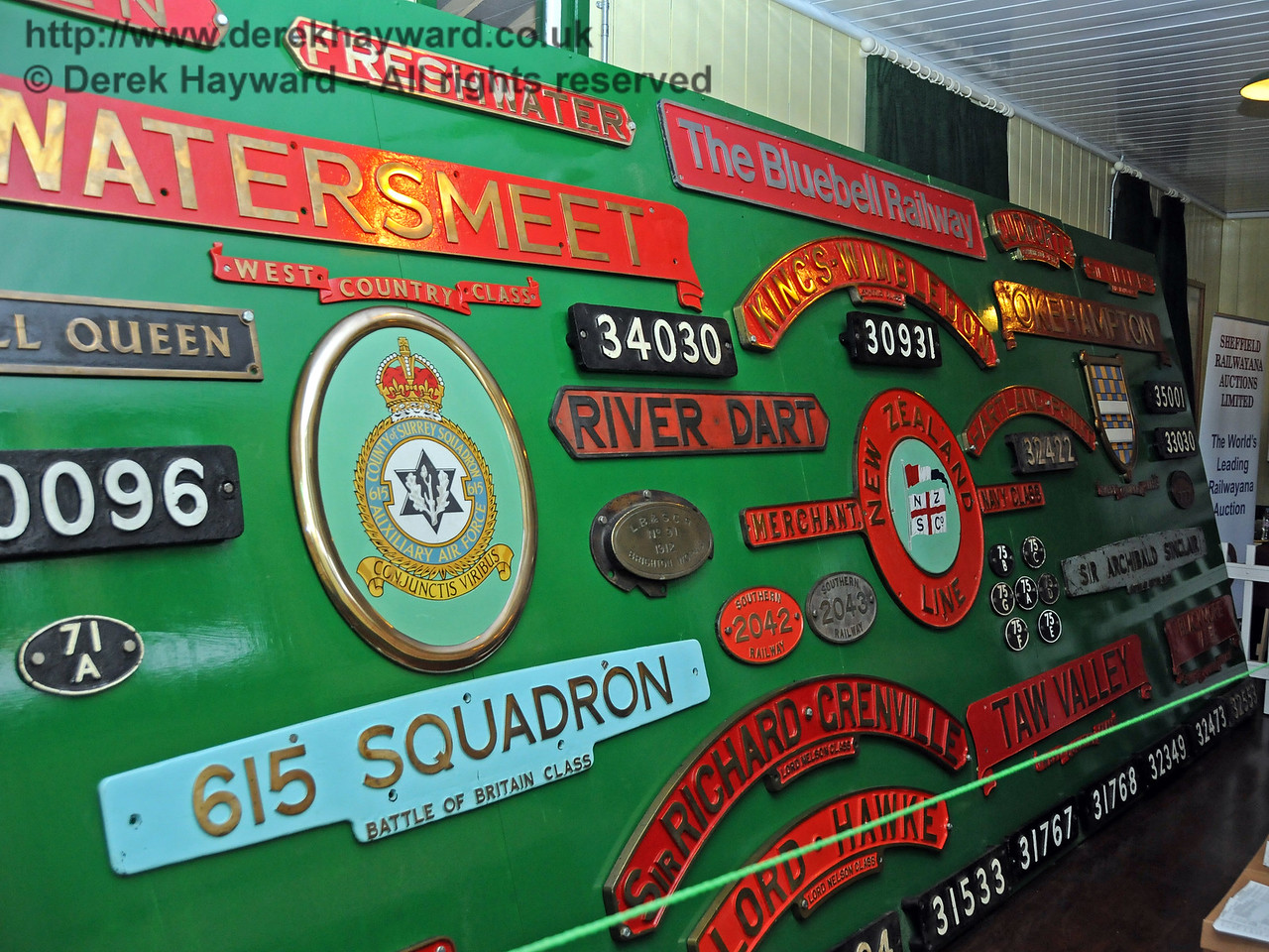 The display of locomotive nameplates at Horsted Keynes. 06.08.2010  3670