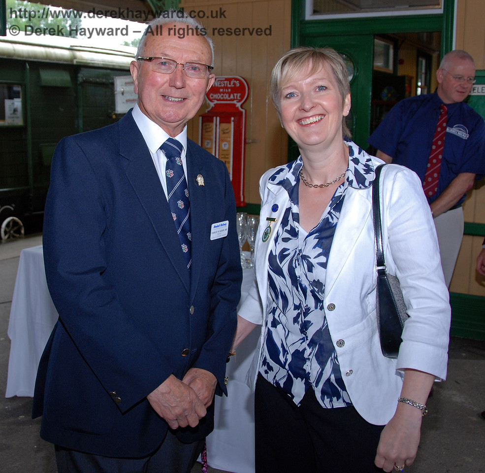 Charles Hudson MBE, BRPS Trustee, poses with Councillor Ginnie Waddingham, latterly Mayor of East Grinstead. Horsted Keynes 07.08.2009