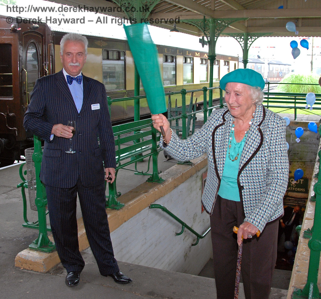 Balloons emerge from the subway as Dame Vera Lynn waves the green flag to launch the 50th Anniversary Appeal. Horsted Keynes 07.08.2009