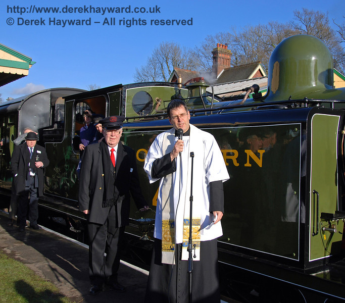 Father John Twisleton (Rector of St Giles Church, Horsted Keynes and Chaplain to the BPRS) addresses the crowd. Horsted Keynes 30.01.2010  48
