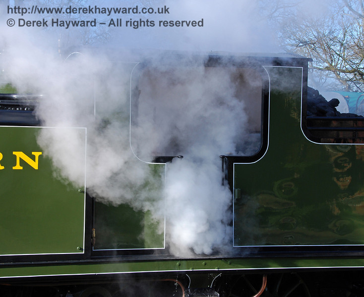 Just a fraction too much steam on the footplate (soon resolved).  Horsted Keynes 30.01.2010