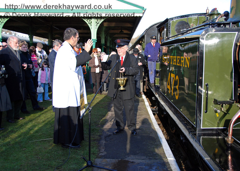 The Rector says prayers for the engine and those who travel with her. Horsted Keynes 30.01.2010  52