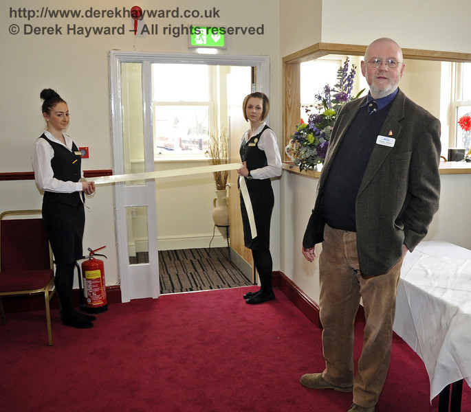 Russell Pearce, Retail Director, makes a short speech to reopen the refurbished Birch Grove Suite at Sheffield Park Station.  29.03.2013  6527