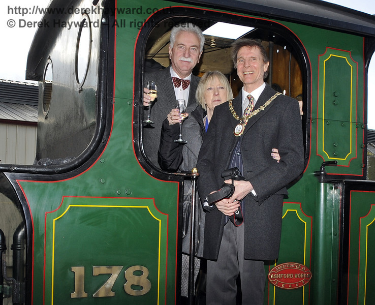 Following the opening of the Birch Grove Suite the Mayor and his wife were given a tour of the line, and are seen here with Graham Flight, Chairman, Bluebell Railway PLC, on board 178.  Sheffield Park Station  29.03.2013  6545