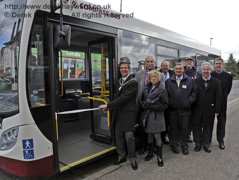 The Mayor of Haywards Heath, Councillor John Sabin, accompanied by his wife, Mrs Margaret Sabin, prepares to launch the new 769 bus route to Sheffield Park in Haywards Heath.  Also pictured are Graham Flight, Chairman, Bluebell Railway PLC; Tim Baker, Commercial Director; Steve Walker, Manager, Sheffield Park National Trust Garden; Russell Pearce, Retail Director; Barry King, Compass Bus and Chris Chatfield, Managing Director, Compass Bus.  Haywards Heath 29.03.2013  6504