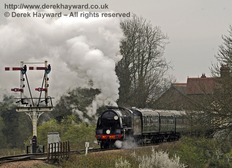 847 hauls the wedding train north from Sheffield Park, taking the bride and groom to their wedding at Horsted Keynes Station.  05.04.2014  8873