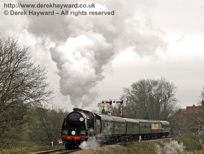 847 hauls the wedding train north from Sheffield Park, taking the bride and groom to their wedding at Horsted Keynes Station.  05.04.2014  8878