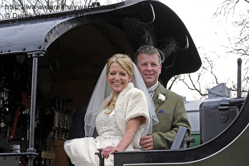 The newly married Jennifer and Sean Montgomery on board 847 at Sheffield Park Station.  05.04.2014  8915