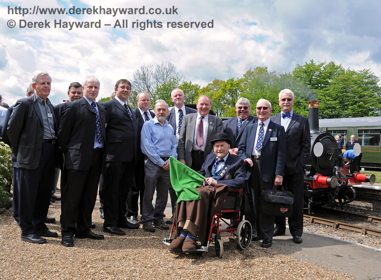 A distinguished group of Bluebell Railway Directors and officers. (Left to right) Roger Kelly Funding Director, Chris Cooper Trustee, Roy Watts Chairman BRPS, Neil Glaskin Trustee, Tim Baker Commercial Director, David Foale Finance Director, Russell Pearce Retail Director, Chris Saunders Trustee, Bernard Holden MBE President BRPS (sitting), Gavin Bennett General Secretary BRPS, Charles Hudson MBE Trustee, and Graham Flight Chairman and Secretary Bluebell Railway plc. 17.05.2010. (Unfortunately I missed a few members of the team...)  2562