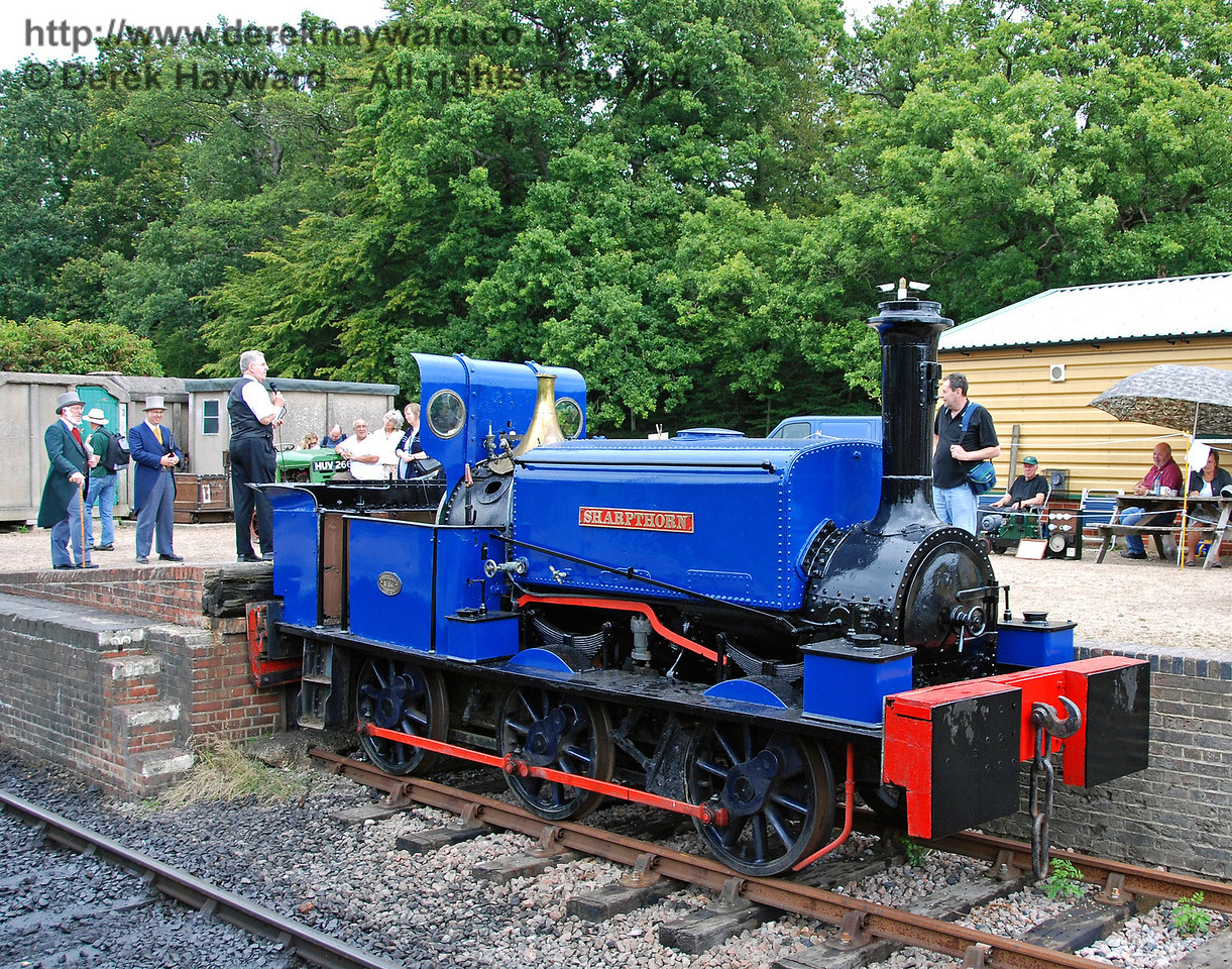 Sharpthorn, used for the construction of the line, poses at Horsted Keynes whilst in the background the Earl of Sheffield and Joseph Firbank prepare to be interviewed. 12.08.2007
