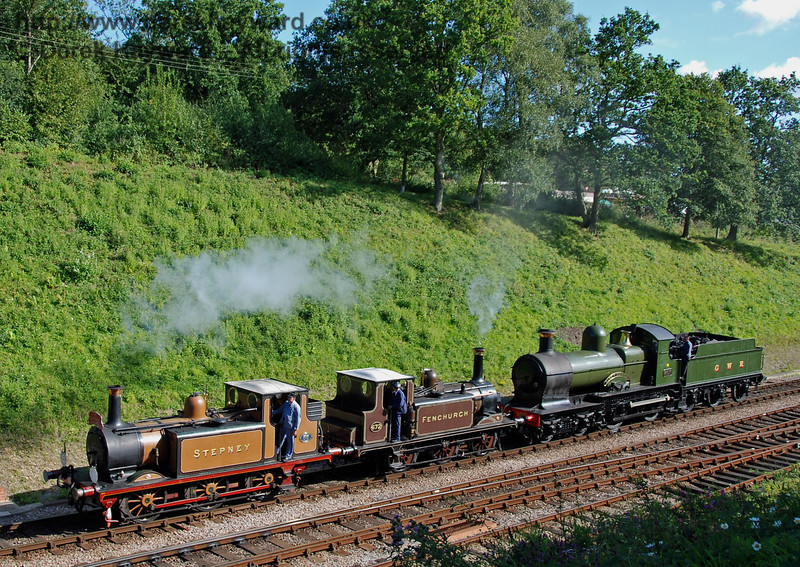 Stepney, Fenchurch and 9017 steam north from Horsted Keynes. 12.08.2007