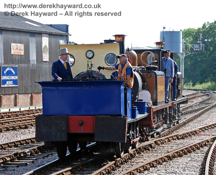 Joseph Firbank supervises as Sharpthorn leads the engines towards Horsted Keynes. 12.08.2007