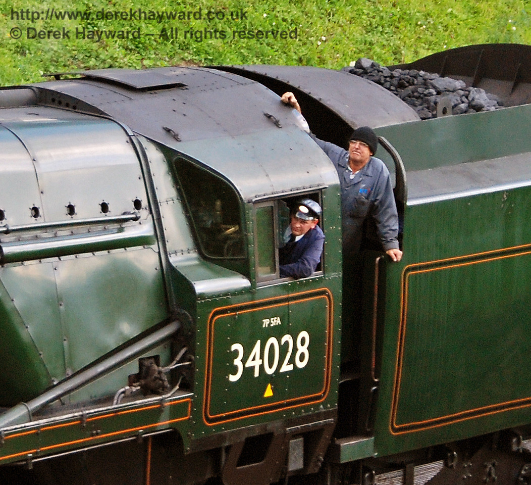 The crew of 34028 Eddystone look out during the cavalcade. 12.08.2007