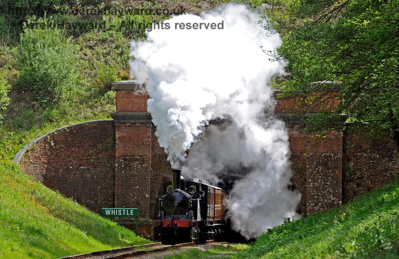 The Coal Tank creates steam effects as it emerges from West Hoathly Tunnel. 13.05.2017 15205