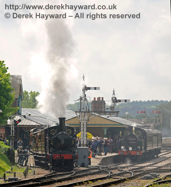 There is a slight haze in the air as the Coal Tank leaves a crowded Horsted Keynes, whilst 263 stands in the platform. 13.05.2017 15149