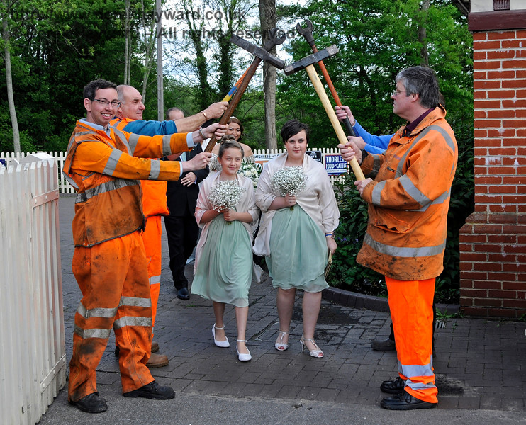 The PWay team form a Guard of Honour for the Bridesmaids.  Sheffield Park  20.05.2017 17254