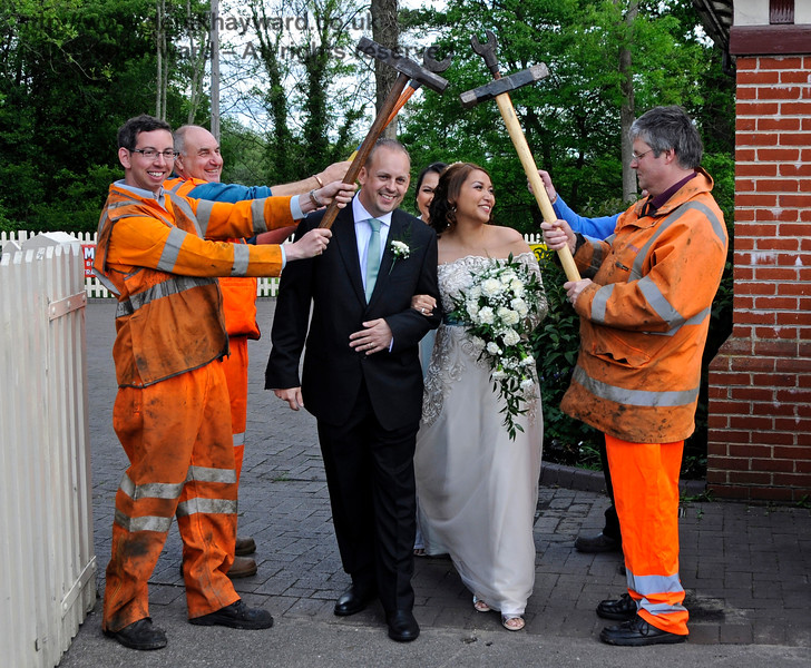 The PWay team form a Guard of Honour for the Bride and Groom.  Sheffield Park  20.05.2017  17258