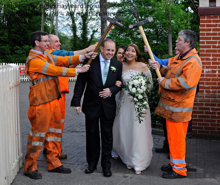 The PWay team form a Guard of Honour for the Bride and Groom.  Sheffield Park  20.05.2017  17256