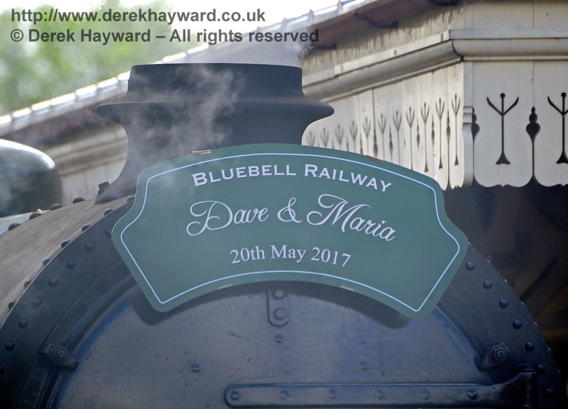 The wedding headboard complete with some wisps of steam.  Sheffield Park 20.05.2017 15306