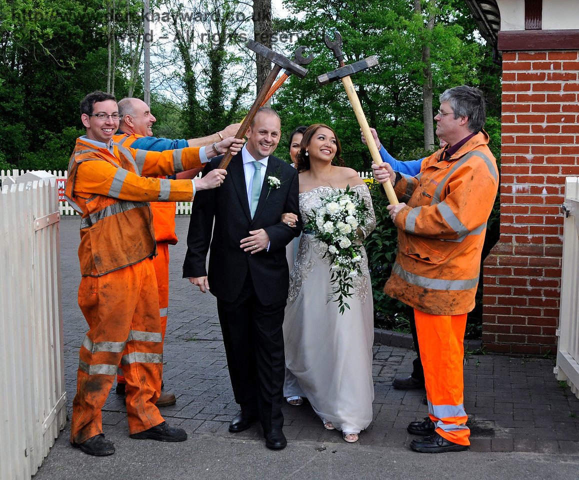 The PWay team form a Guard of Honour for the Bride and Groom.  Sheffield Park  20.05.2017  17257