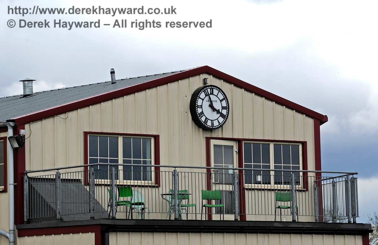 The memorial clock for the late Phil Stoneman, installed above the balcony on Sheffield Park Shed.  Bluebell Railway Diesel Gala, in association with GBRailfreight. 16.04.2016  12792