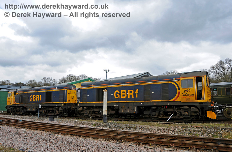 Class 20 20901 (right) unfortunately suffered a wheel flat following an issue with a handbrake, and was failed at Horsted Keynes.  The engines were initially moved into the Down yard to clear the line.  Bluebell Railway Diesel Gala, in association with GBRailfreight. 16.04.2016  14800