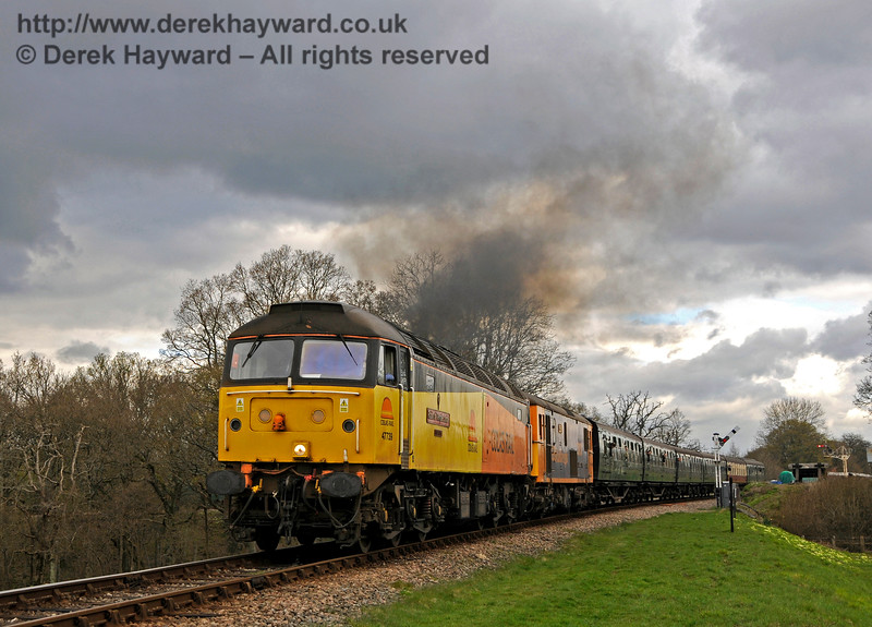 47739 and a Class 73 approach Three Arch Bridge with a southbound train.  Bluebell Railway Diesel Gala, in association with GBRailfreight. 16.04.2016  14860